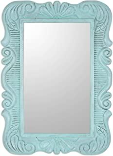 NOVICA Light Blue Turquoise Hand Carved Floral Wood Frame Wall Mounted Rectangluar Mirror, Sunflower View in Aqua'
