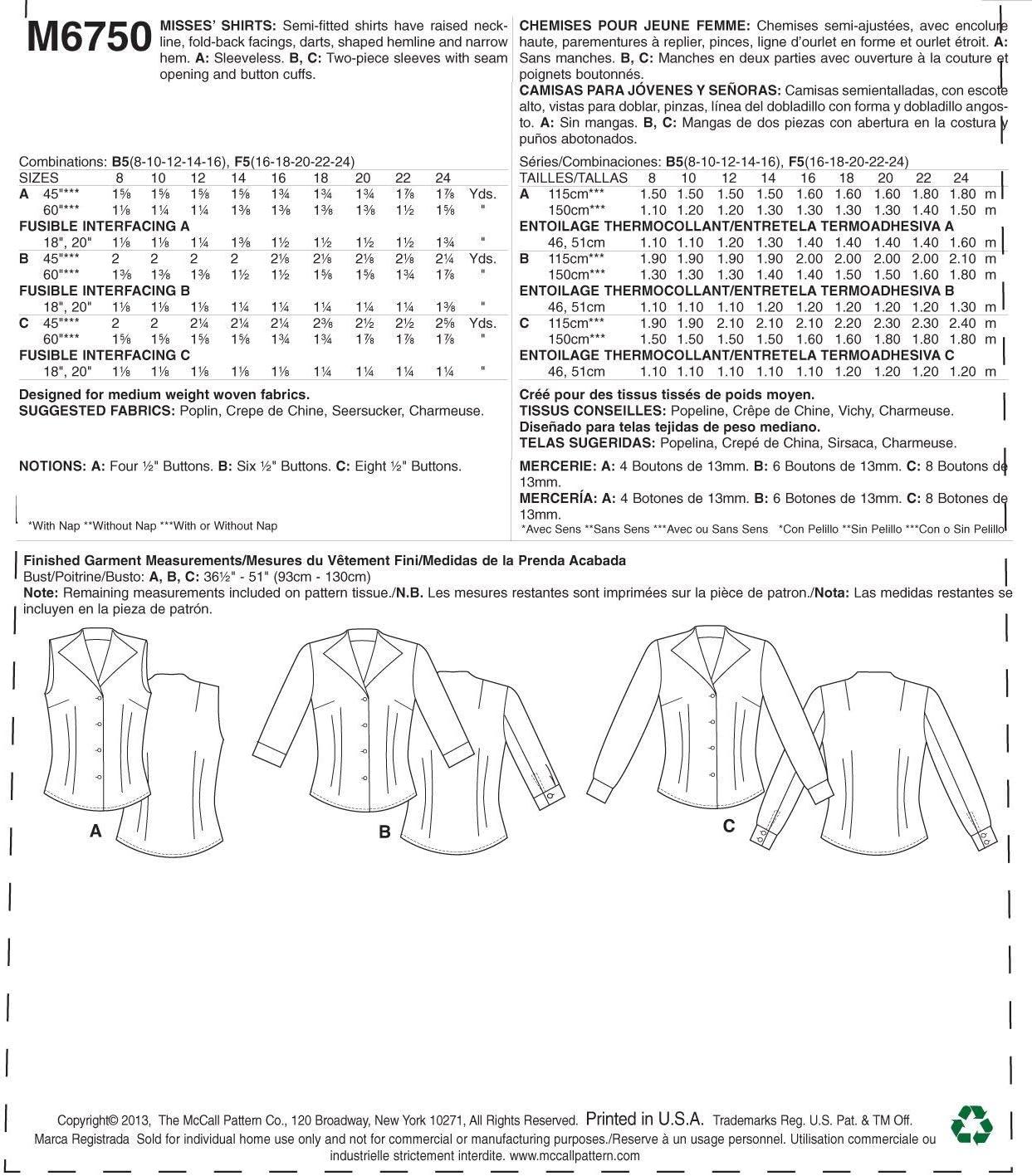 Deutsche Gr/ö/ße 42-50 16-18-20-22-24 McCalls M6750 Istruzioni in Inglese//Tedesco MC 6750 F5 Cartamodello da Cucito per Capo dAbbigliamento alla Moda