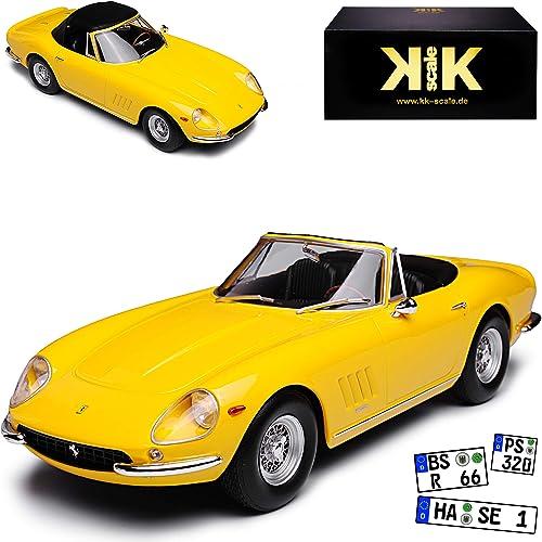 KK-Scale Ferrari 275 GTB4 Nart Spyder Cabrio Gelb mit Soft Top Dach 1964-1968 limitiert 500 Stück 1 18 Modell Auto mit individiuellem Wunschkennzeichen