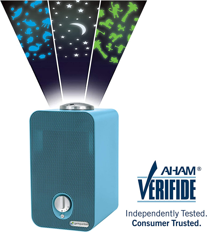 GermGuardian AC4150BLCA 4-in-1 Kids Room Air Purifier, HEPA Filter, UVC Sanitizer, Air Cleaner Traps Allergens, Pollen, Odors, Mold, Dust, Germs, Smoke, Pet Dander, Night Light Projector,Germ Guardian
