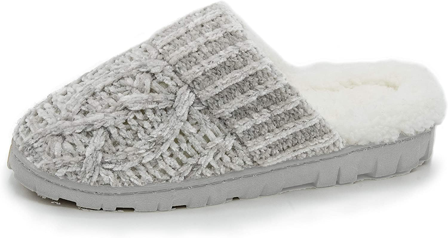Bcozy Women's Chenille Knit Scuff Slipper with Faux Sherpa Lining