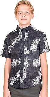Boys' Big Hawaiian Aloha Shirt Vintage Casual Button Down Tee