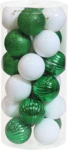 new arrival Sunnydaze 24-Count 60mm (2.36-Inch) Shatterproof Christmas Ball Ornaments with Hooks Included wholesale - Merry Medley Tree Decorations Set for wholesale Holiday Decor and Gatherings - White/Green outlet online sale