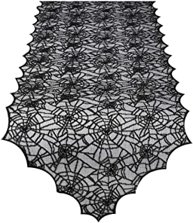 Unves Halloween Table Runner, Spider Web Halloween Table Decor Black Lace Kitchen Dining Tablecloth for Holiday Indoor Out...