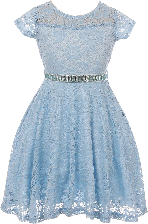 Flower Girl Dress Cap Sleeve Jewel Belt Floral Lace All Over