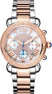 JBW Luxury Women's Victory 16 Diamonds Mother of Pearl Chronograph Watch - JB-6210-N