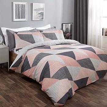 Dreamscene Textured Geometric Scandi Duvet Cover with Pillowcase Bedding Set for Girls Boys Women Adults, Blush Pink - Single Size