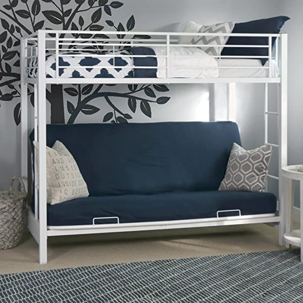 Sturdy Metal Twin Over Futon Bunk Bed In White Finish