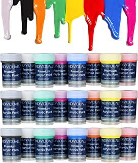 24 Cans of Premium Acrylic Paints by individuall – Professional Grade Acrylic Paint Set – Acrylic Hobby Paints Made in Germany – Craft Paint Set, 8 Vivid Colors – for Beginners, Students, Artists