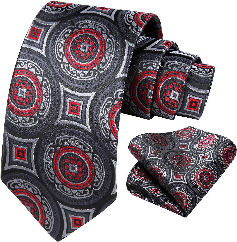HISDERN Polk Dot Tie Set for Men Classic Woven Necktie & Pocket Square Business Party