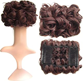 SWACC Short Messy Curly Dish Hair Bun Extension Easy Stretch hair Combs Clip in Ponytail Extension Scrunchie Chignon Tray Ponytail Hairpieces (Dark Auburn-33#)