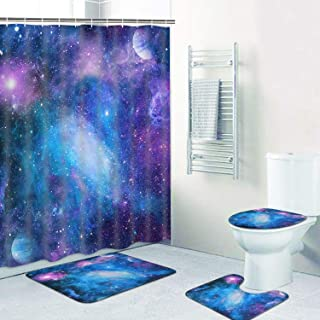 TAMOC 4 Pcs Purple Galaxy Shower Curtain Set with Non-Slip Rug, Toilet Lid Cover and Bath Mat, Starry Space Shower Curtain with 12 Hooks, Nebula Universe Bathroom Curtain, Waterproof, Durable