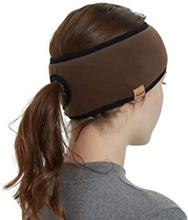 Womens Ponytail Headband-Winter Fleece Ear Warmer Headband Cold Weather Ear Muffs Sport Head Band Wrap Sweatband