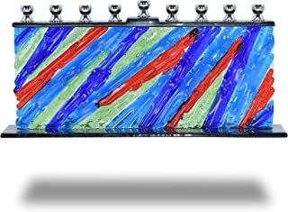 Ner Mitzvah Glass Candle Menorah - Fits All Standard Chanukah Candles - Handcrafted Forever Young Glass Painted Hanukkah Menorah