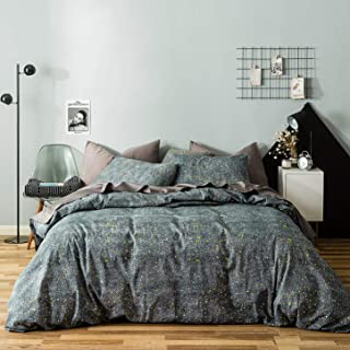 SUSYBAO 3 Piece Duvet Cover Set 100% Cotton King Size Celestial Bedding Set 1 Gray Galaxy Space Print Duvet Cover with Zipper Ties 2 Pillowcases Luxury Quality Soft Breathable Durable Easy Care