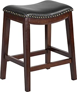 Flash Furniture 26'' High Backless Cappuccino Wood Counter Height Stool with Black Leather Saddle Seat