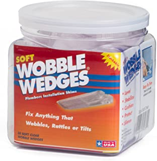 Wobble Wedges - Soft Clear - Furniture and Plumbing Fixture Installation Shims - 30 Piece Jar