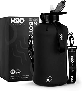 H2O Capsule 2.2L Half Gallon Water Bottle with Storage Sleeve and Straw lid– BPA Free Large Water Bottle/2.2 Liter (74 Ounce) Big Sports Bottle Jug with Handle