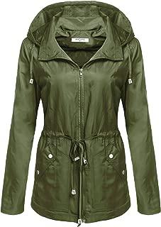 ANGVNS Women's Waterproof Lightweight Anorak Rain Jacket Military Cargo Mesh Hooded Coat