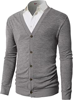H2H Mens Casual Slim Fit Cardigan Sweaters V-Neck Long Sleeve Button-Down Basic Designed