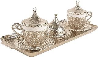 MisterCopper New 2018 (Bigger Size) Premium Turkish Greek Arabic Coffee Espresso Serving Set for 2,Cups Saucers Lids Tray Delight Sugar Dish 11pc (Silver)