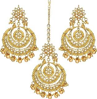 Aheli Bollywood Ethnic Chandbali Style Earrings Maang Tikka Set Traditional Fashion Jewelry for Women