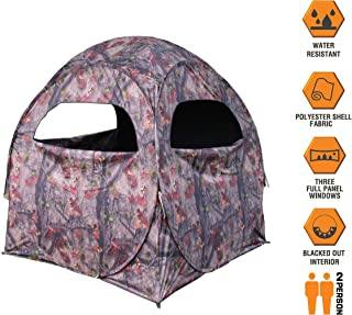 HME Spring Steel 75 Ground Blind- Two Person, Pop Up, Shoot Through Mesh