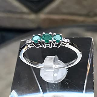 Natural Green Emerald & White Diamond 9k White Gold Bridal Promise Engagement Ring Size 7