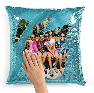 Best Custom Personalized Flip Reversible Sequin Pillow Cover Empty DIY Throw Case Decorative Home Decor with Your Personal Photo, Text, or Logo - Gift For Him,Her, Christmas, Birthday, Holiday (Light Blue) Review