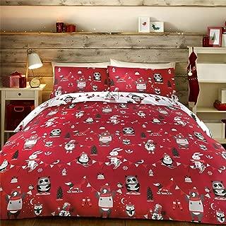 CHRISTMAS PENGUINS PANDAS RED WHITE COTTON BLEND USA TWIN (DUVET COMFORTER COVER 135 X 200CM - 53