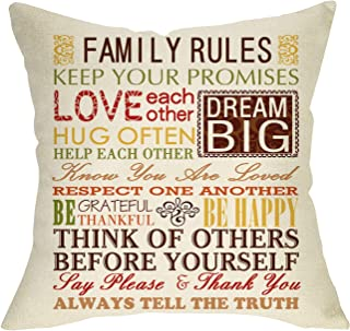 Softxpp Family Rules Home Decorative Throw Pillow Cover Subway Art, Quotes Cushion Case Vintage Farmhouse Decor Sign, Love Each Other Be Happy Grateful Thankful Pillowcase Decorations for Sofa Couch