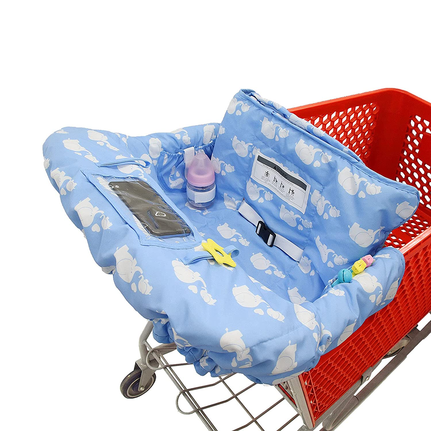 Miss Dong&Mr. Chen Shopping Cart Cover for Baby or Toddler/2-in-1 High Chair Cover/Machine Washable/Fits Restaurant Highchair/Fold'n Roll Style/Portable with Free Carry Bag (Cotton,Blue Baby Elephant)