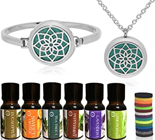 Bella Therapy Aromatherapy Lotus Diffuser Necklace and Bracelet stainless steel pendant jewelry Set with 6 Pack of Premium Essential Oils, Therapeutic Grade Bundle, 21