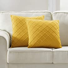 Longhui bedding Yellow Throw Pillow Cover, 18 x 18 Inches Decorative Throw Pillows for Couch Sofa Bed, Square Cushion Cove...