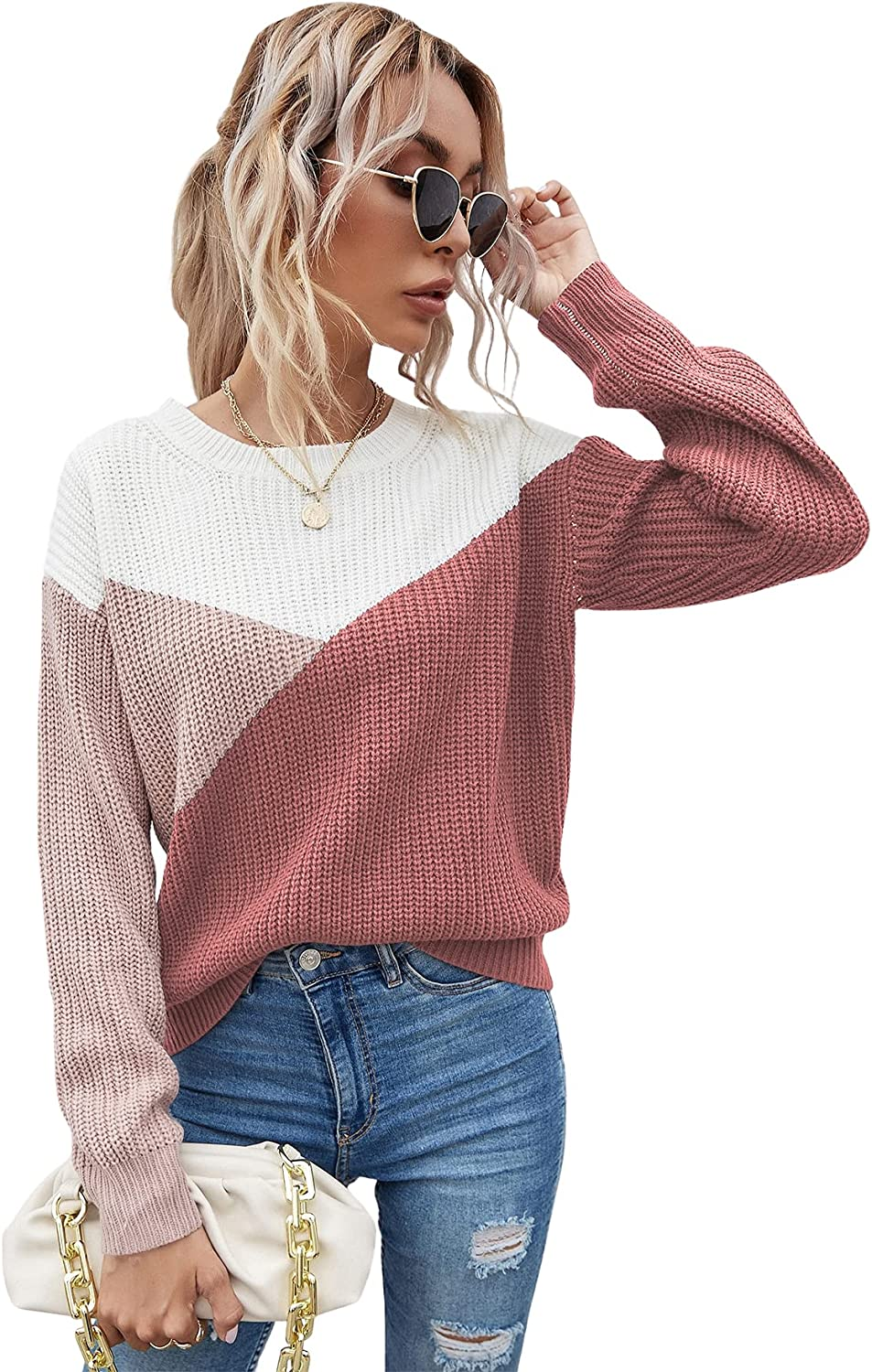 MakeMeChic Women's Color Block Long Sleeve Crew Neck Knit Sweater Casual Pullover