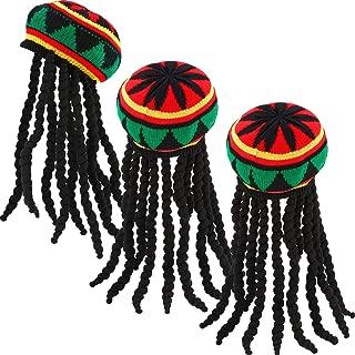 3 Pack Rasta Hat with Black Dreadlocks Wig Rasta Wig Cap for Costume Accessory