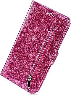 Herbests Kompatybilne z Samsung Galaxy S10 etui na telefon komórkowy z brokatowym zamkiem błyskawicznym skóra etui Bling b...