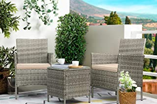 Greesum GS-3RCS4BG 3 Pieces Outdoor Patio Furniture Sets, Gray and Beige