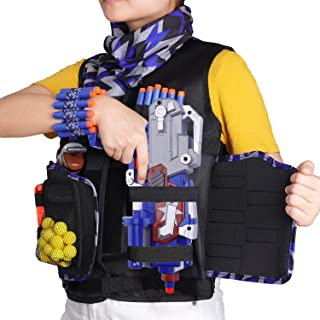 UWANTME Detachable Tactical Vest Kits for Nerf Guns N-Strike Elite Series with Refill Darts-Dart Pouch-Reload Clips-Tactical Mask-Wrist Band and Protective Glasses for Kids