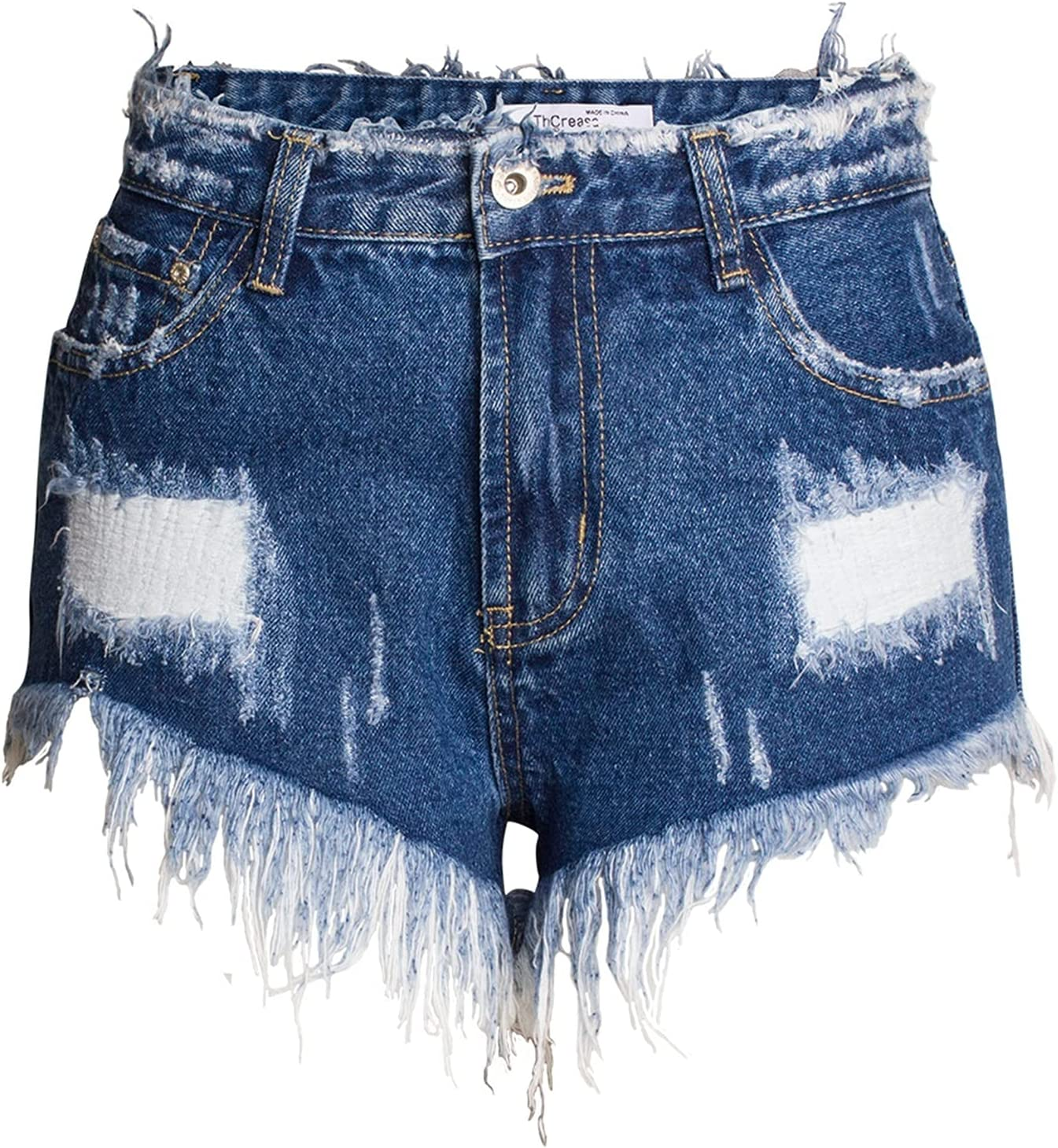 SBCDY Women's Destroyed Ripped Hole Denim Shorts Sexy Short Jeans Summer High Waist Denim Shorts Loose Wide Leg Ripped Denim Shorts (Color : Blue, Size : 42)