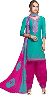 CRAFTSTRIBE Pure Cotton Thread Work Turquoise Color Daily and Party Wear Unstiched Dress Material Salwar Kameez for Women