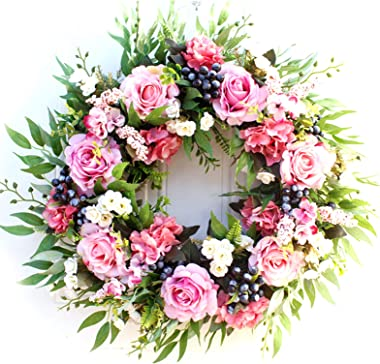 "Roses Flower Wreath, Large Size 22"" Artificial Roses Front Door Wreath Handcrafted Floral Wreath Spring Garland Wreath for Fr"