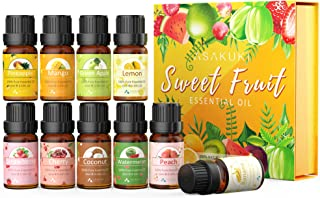 ASAKUKI Fruity Essential Oils Gift Set for Diffusers 10*10ml Fruit Scented Aromatherapy Oils -Green Apple, Cherry, Strawbe...