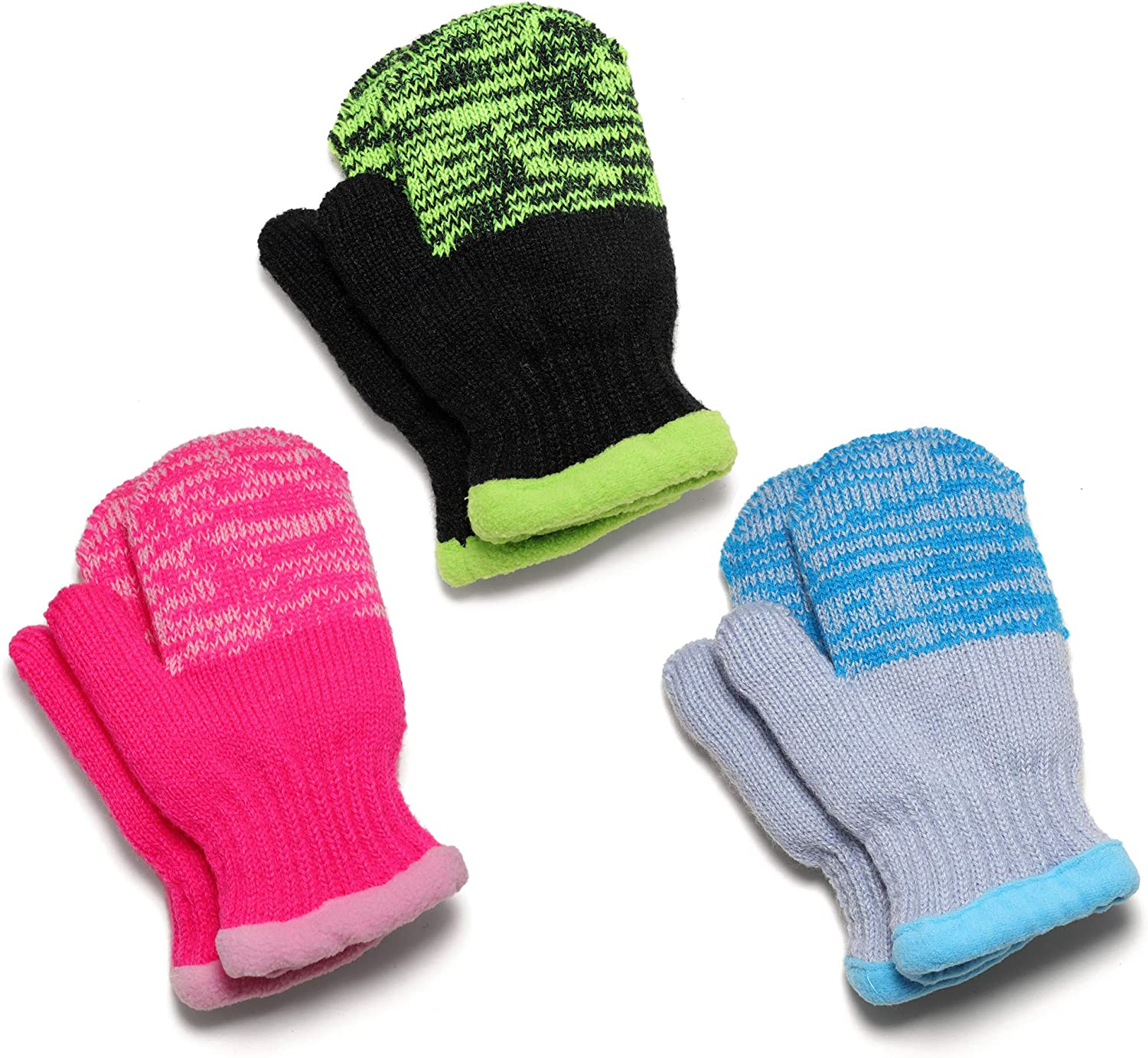 Flammi 3 Pairs Kids Winter Magic Mittens Fleece Lined Knit Warm Gloves Easy On for Boys Girls 2-7 Years