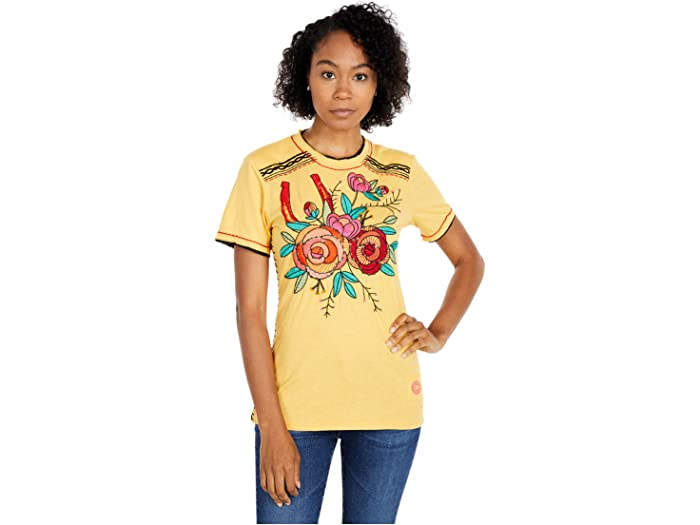Double D Ranchwear Fortunate One Tee Shirt in Lemon Drop Yellow