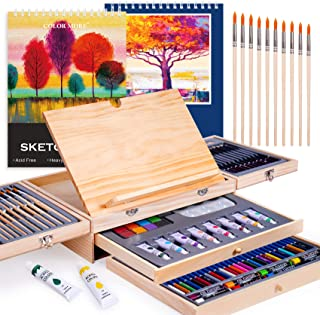 Paint Set,85 Piece Deluxe Wooden Art Set Crafts Drawing Painting Kit with Easel and 2 Drawing Pads, Creative Gift Box for ...