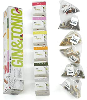 Christmas stocking gift, Té Tonic 6 Infusions tea bags gift set for flavouring your Gin & Tonic cocktail. With fresh spices, herbs and flowers 100% Natural ingredients