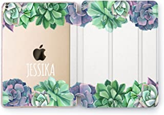 Wonder Wild Succulent iPad Clear Tablet 5th 6th Gen Mini 1 2 3 4 Air 2 Pro 10.5 Cactus 12.9 2018 2017 9.7 inch Green Plant Smart Stand Cover Custom Name Case Floral Initials Personalized Cute Nature