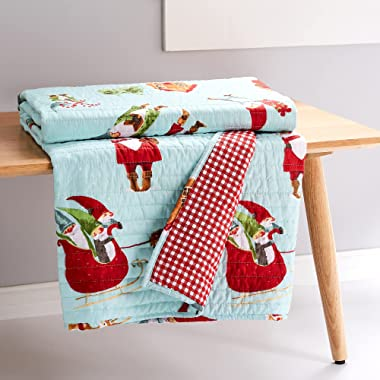 Levtex home Merry & Bright Gnome for The Holidays Quilted Throw - 50x60in. - Christmas Gnomes - Red, White, Green, Teal,