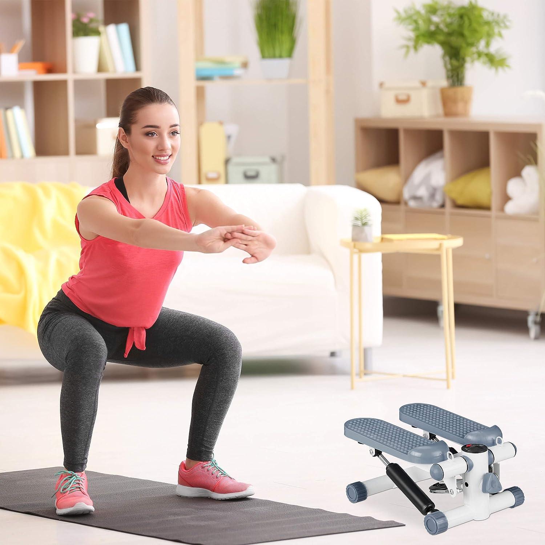 Farben Swing-Stepper Fitnessger/ät f/ür Zuhause Relaxdays Stepper mit Schrittz/ähler inkl 2 Expander vers Up /& Down